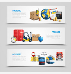 colored logistic banner set vector image