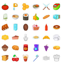 comestible icons set cartoon style vector image