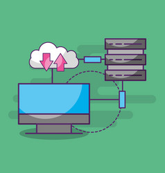 computer connected data base server cloud download vector image