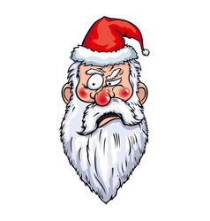 Concentrated Santa Head vector image