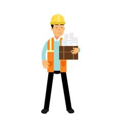 construction engineer in hard hat and orange vest vector image