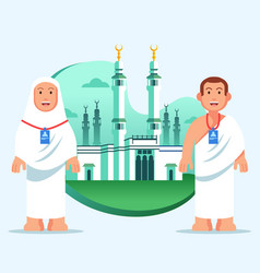 Couple hajj pilgrim at great mosque mecca vector
