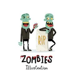 couple zombie man near rip gravestone vector image