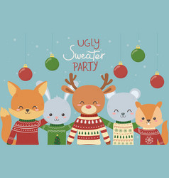 cute animals christmas ugly sweater party vector image