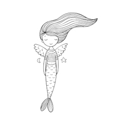 Cute little mermaid with wings Siren Sea theme vector image