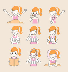Daily routines of girl outline vector
