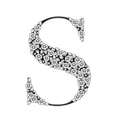 daisy black floral letter s vector image