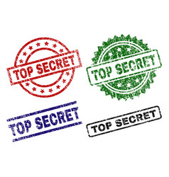 damaged textured top secret stamp seals vector image