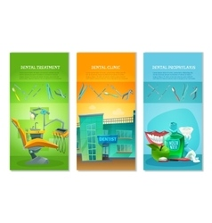 Dentist 3 Flat Vertical Banners Set vector