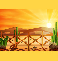 Desert landscape with cactuses on the sunset backg vector