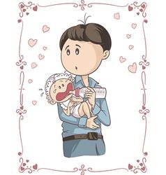 Father feeding crying bacartoon vector