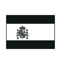 Flag of Spain with Emblem monochrome on white vector