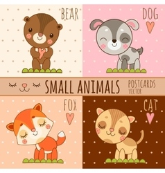 Four simple cute images of animals cartoon set vector image