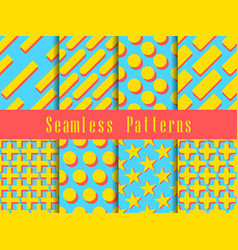 Geometric modern seamless pattern set triangles vector