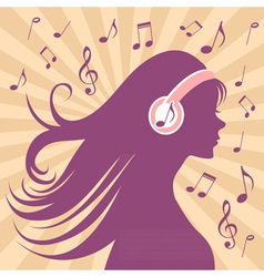 Girl silhouette with headphones vector