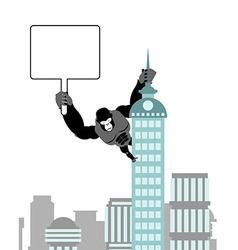 Gorilla holding blank worksheet nameplate Wild vector image