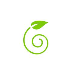 Green leaf swirl organic logo vector