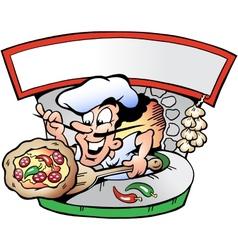Hand-drawn an italian pizza house vector