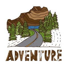 Hand drawn labels for adventure themes vector