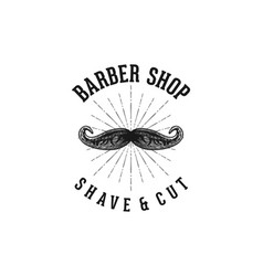 hand drawn mustache barber shop logo inspiration vector image