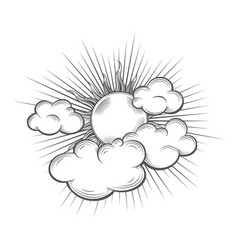 hand drawn sun with sun beams and cloud engraving vector image