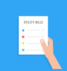 Hand holding sheet with utility bills vector