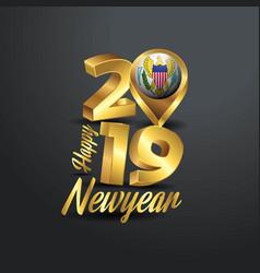 Happy new year 2019 golden typography with virgin vector