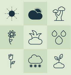 Harmony icons set with big tree rose clear vector
