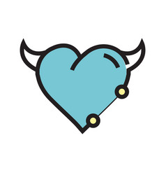 Heart devil pen tool style blue vector