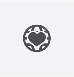 heart globe icon vector image