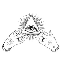 Human hands open around masonic symbol all seeing vector