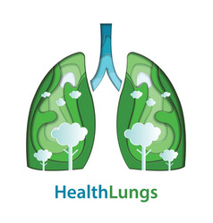human lungs paper cut of natural concept vector image