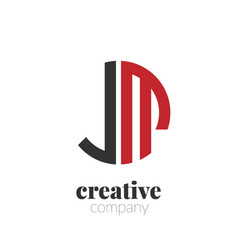 initial letter jm creative elegant circle logo vector image