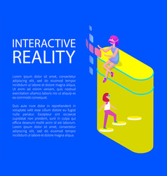 Interactive virtual reality cartoon style banner vector
