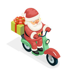 isometric 3d gift box santa claus delivery courier vector image