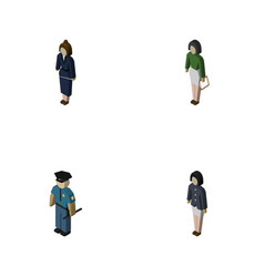 Isometric person set of pedagogue businesswoman vector