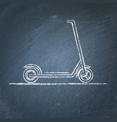 Kick scooter sketch on chalkboard vector