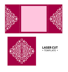 Laser cut envelope card temlate with vector