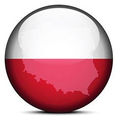 Map on flag button of Republic Poland vector