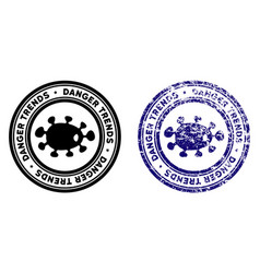 Microbe danger trends stamp with dust style vector