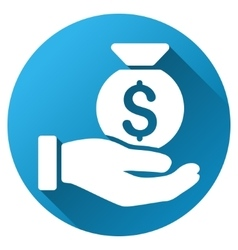 Money Bag Payment Gradient Round Icon vector image