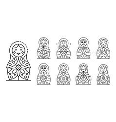 Nesting doll icons set outline style vector