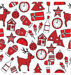new year seamless pattern in red and white colors vector image