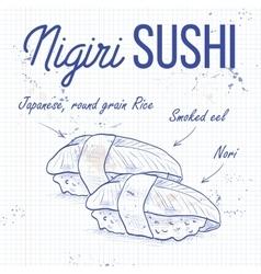 Nigiri sushi sketch vector