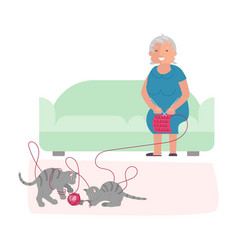 old woman and cute gray kittens vector image