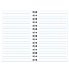 Open notebook with white page vector