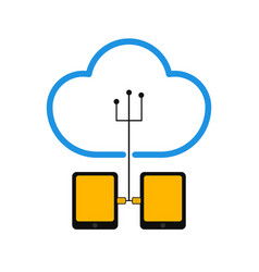 pair of tablets connected to cloud technology vector image