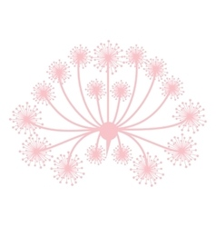 pastel pink silhouette dandelion with pistils vector image