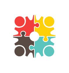 people teamwork gear puzzle logo design vector image