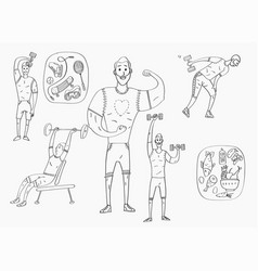 People workout with sports equipments exercises vector